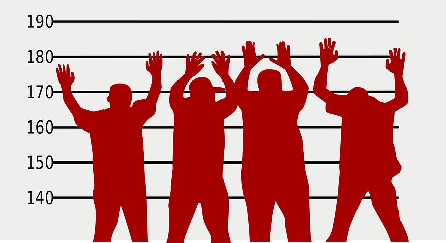 Crime suspects raising their hands